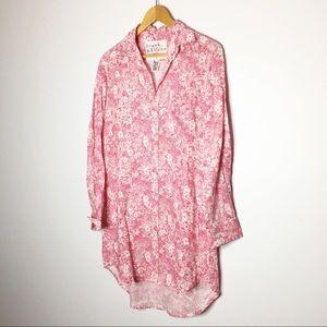 Frank & Eileen shirt dress floral pink linen